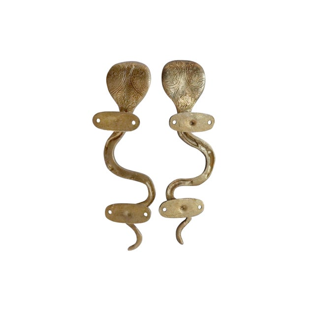 Boho Chic Gold Brass Cobra Door Handles - a Pair For Sale - Image 3 of 6