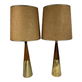 1950s Tony Paul Westwood Walnut Brass Modern Atomic Cone Table Lamps - a Pair For Sale