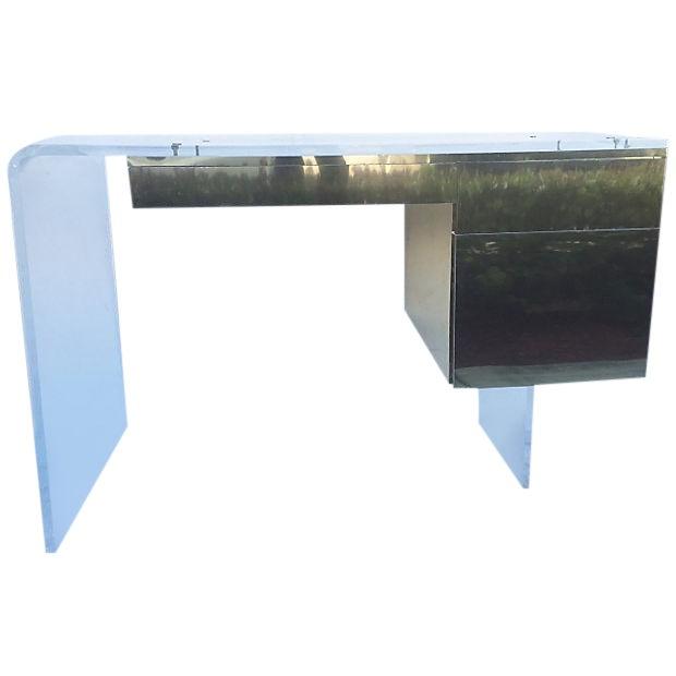 Vintage 1970s Lucite & Brass Desk - Image 1 of 10