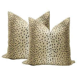 "22"" Ebony Antelope Linen Print Pillows - a Pair For Sale"