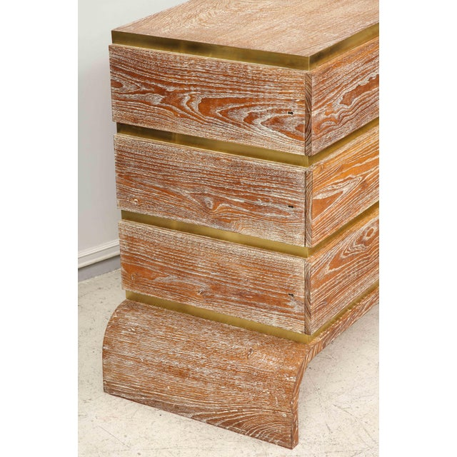 Mid 20th Century VIntage Sculptural Cerused Oak Chest With Brass Trim For Sale - Image 5 of 8