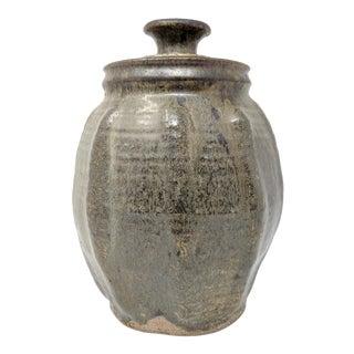 Vintage Green Studio Pottery Jar For Sale