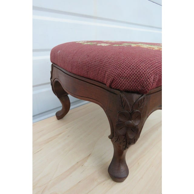 Brown French Carved Needlepoint Tapestry Small Ottoman Footstool Bench For Sale - Image 8 of 13