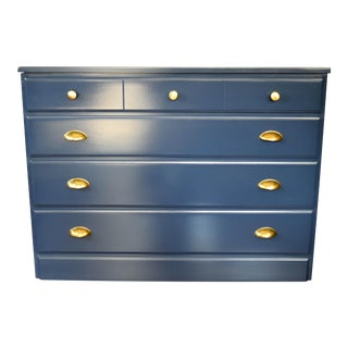 Glossy Navy Blue Dresser With Brass Handles
