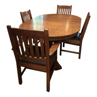 1980s Mission Stickley Dining Set - 5 Pieces For Sale