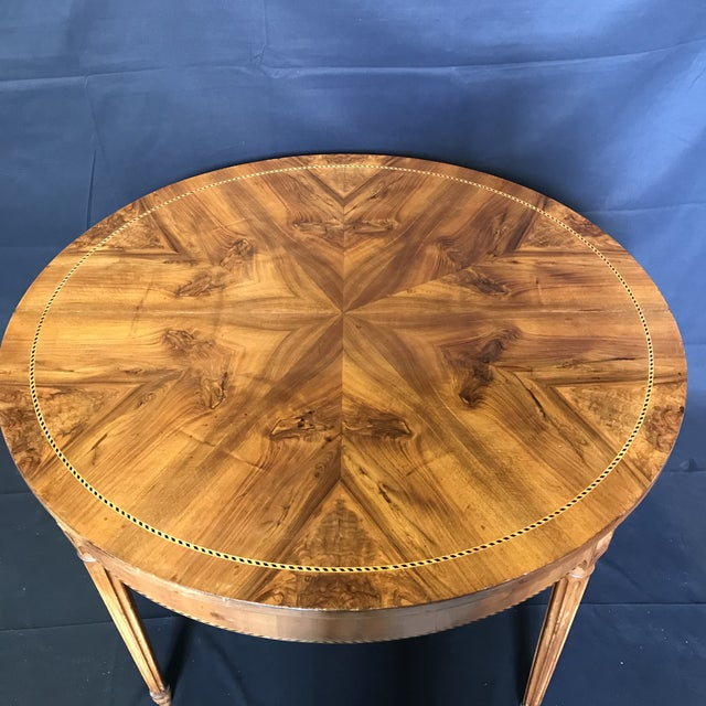 Late 19th Century Antique French Inlaid Round Marquetry Table For Sale - Image 5 of 8