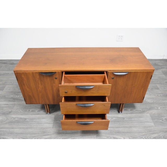 Petite Walnut Credenza by Jens Risom For Sale - Image 10 of 12