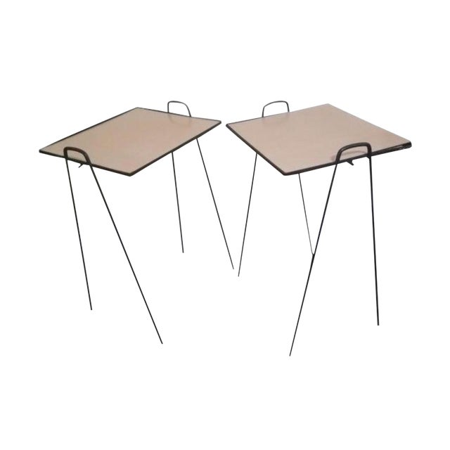 Mid-Century Modern Wrought Iron Side Tables - a Pair For Sale