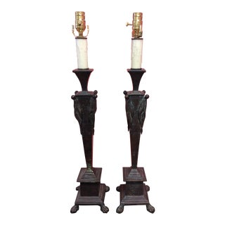 Maitland Smith Bronze Table Lamps - a Pair
