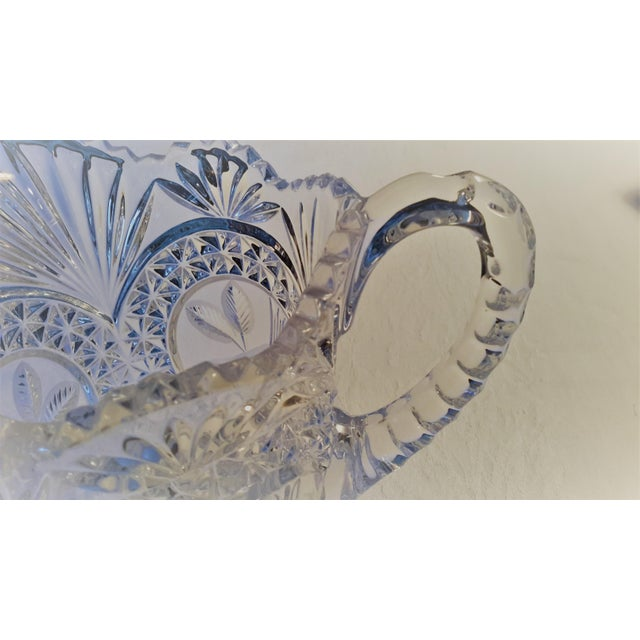 Simply Beautiful Etched Bird Motif Clear Cut Glass Footed Pitcher For Sale - Image 6 of 12