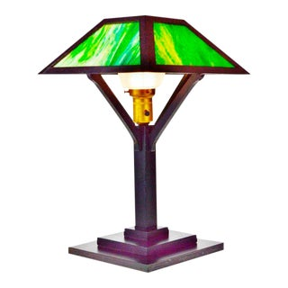 Vintage Mission Arts & Crafts Slag Glass Table Lamp For Sale
