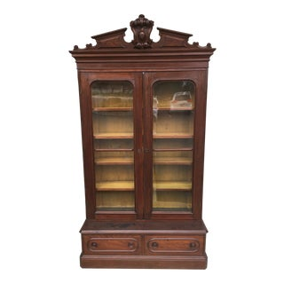 Late 19th Century Antique Victorian Solid Walnut Bookcase For Sale