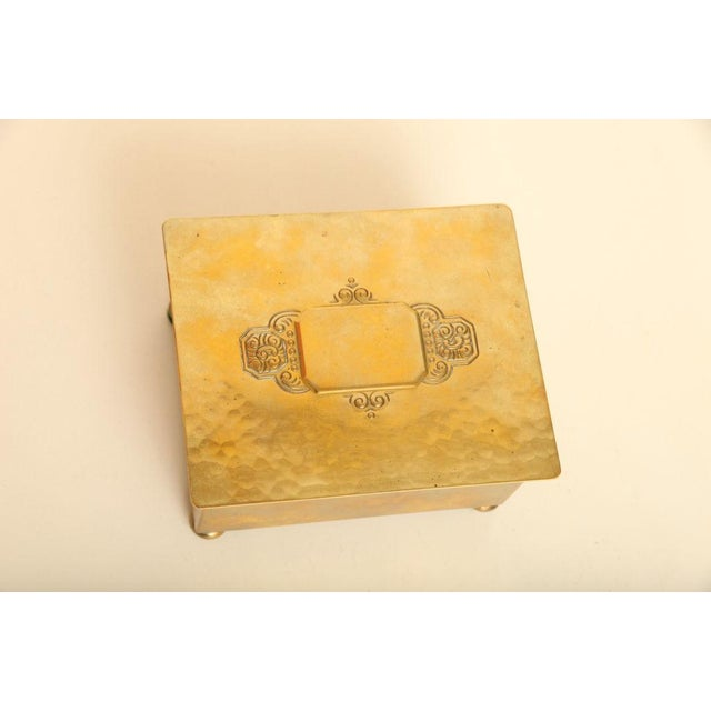 1930s Wmf Art Deco German Hand Hammered Brass/ Wood Box For Sale - Image 5 of 6