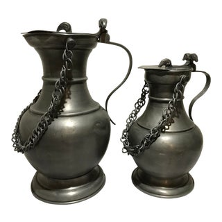 Large Antique Pewter Tankard/Beer Steins - Set of 2 For Sale