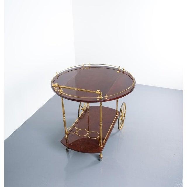 Aldo Tura Adjustable Brown Parchment Brass Bar Cart, 1960 For Sale - Image 10 of 13