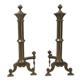 20th C. French Brass Andirons - A Pair For Sale