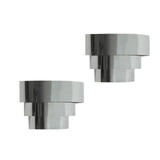 Three-Tier Chrome Wall Sconce, Circa 1975 For Sale