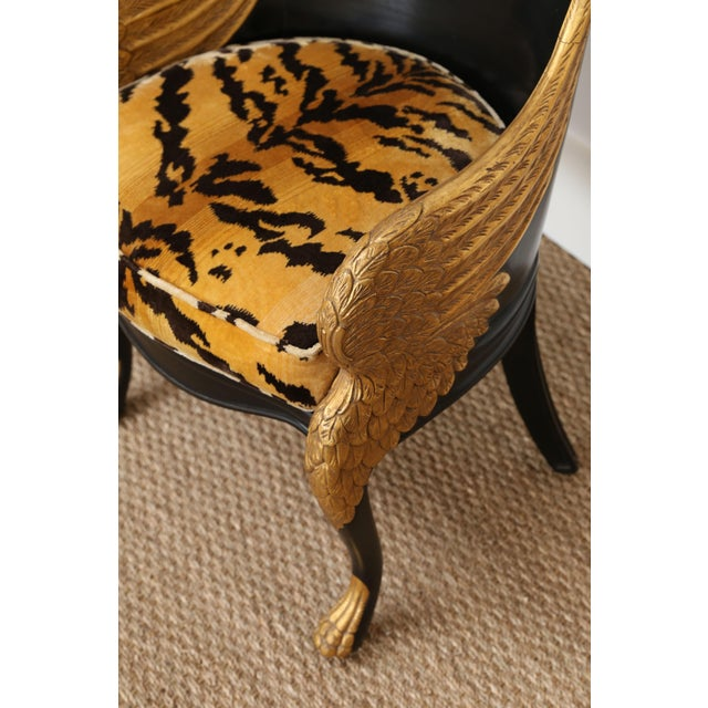 Gold French Empire Armchairs Upholstered in Clarence House Tiger Velvet - a Pair For Sale - Image 8 of 11