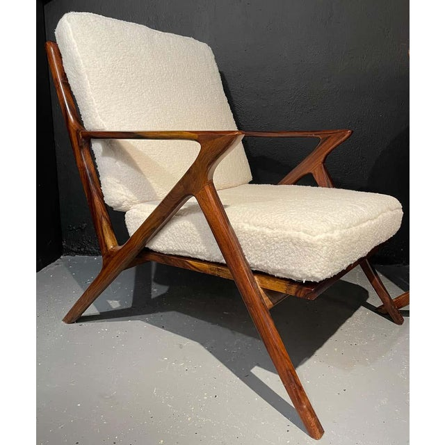1960s Mid-Century Modern Rosewood or Walnut Armchairs Sherpa, Upholstered - a Pair For Sale - Image 5 of 10