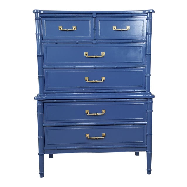 Henry Link Hollywood Regency Bali Hai Blue Faux Bamboo Chest For Sale