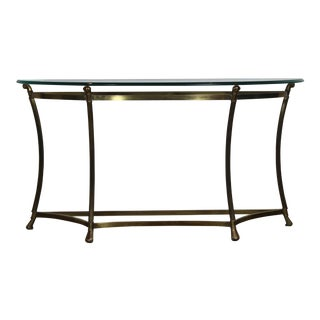 Brass Oval Bevel Glass Top Console