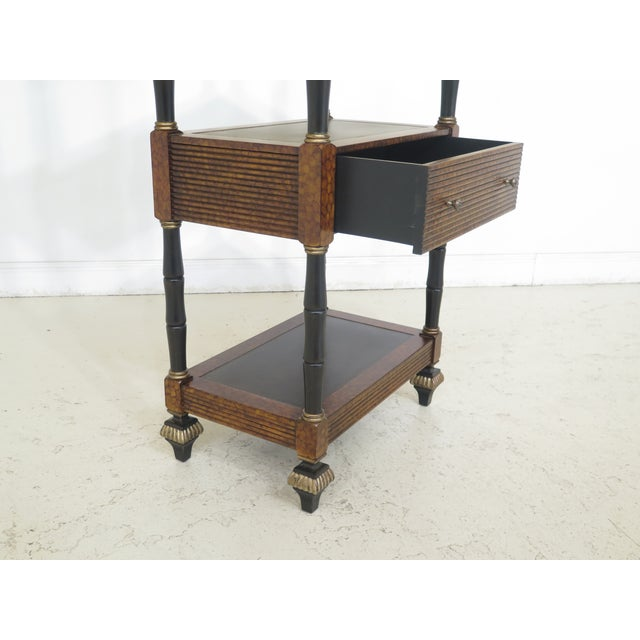 Leather Lillian August Regency Style Leather Top Tiered Bookshelf For Sale - Image 7 of 10