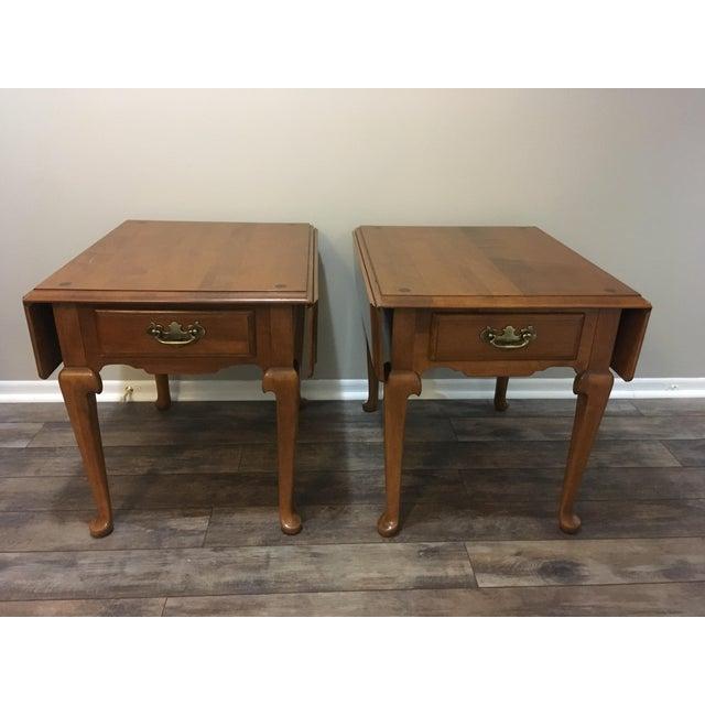 Vintage Ethan Allen Drop Leaf Side Tables - a Pair - Image 13 of 13