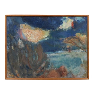 """""""Winter Retrospective"""" Expressionist Night Landscape by Christian Daugaard For Sale"""