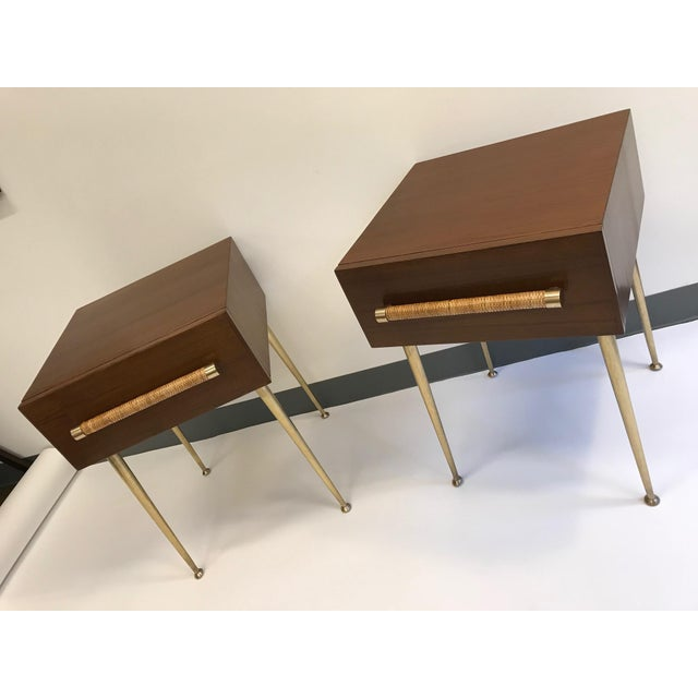 T.H. Robsjohn-Gibbings Walnut and Brass Nightstands - a Pair For Sale - Image 10 of 12