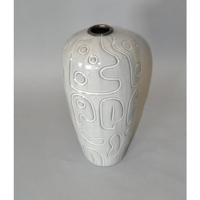 Modern Modern Glazed Pottery Gray Vase For Sale - Image 3 of 9