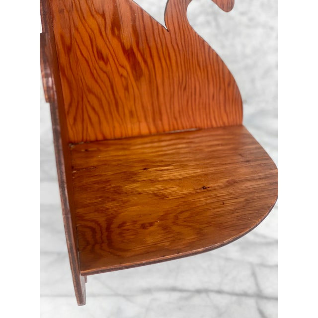 Mid 20th Century Vintage Farmhouse Carved Maple Wall Corner Hanging Plant Shelf For Sale - Image 5 of 9