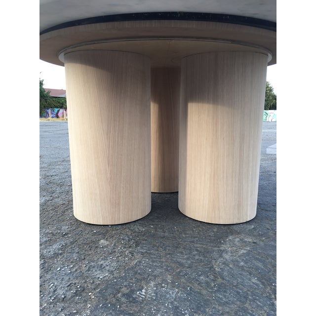 Oversized Pillar Marble Dining Table in White Oak For Sale - Image 11 of 13