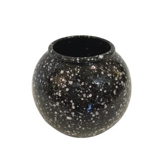 Vintage German Black and White Pottery Vessel For Sale