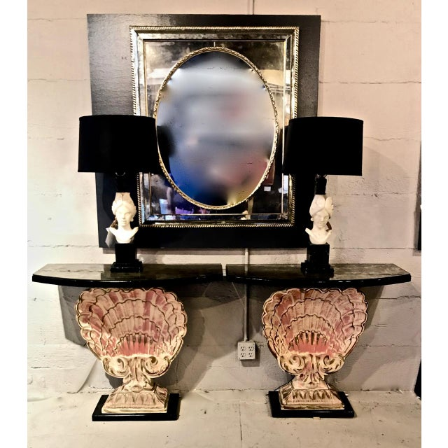 This is a stunning pair of Shell Console in plaster that is attributed/after Maison Jansen or Grosfiled House. The...