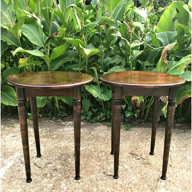 Beautiful impressive side tables/end tables. Round top with turned architectural legs. Solid wood construction. Perfect...