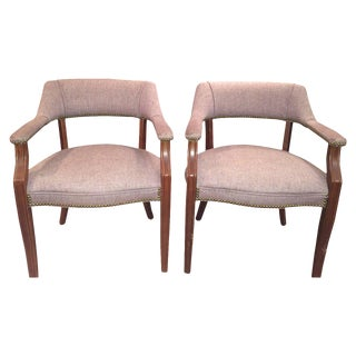 SOLD-Mid-Century Pale Plum Wool Armchairs - a Pair