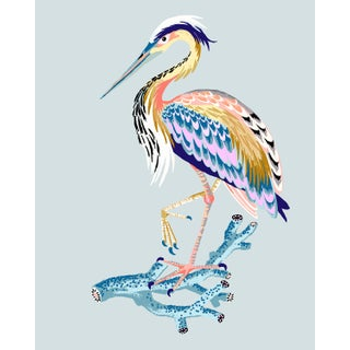 Contemporary Heron Giclée Print in Egg Blue For Sale