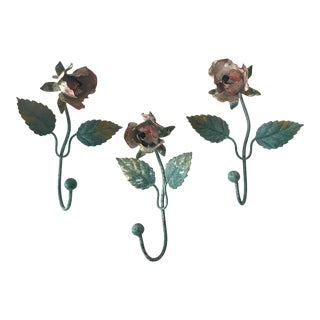 Italian Tolewear Rose Wall Hooks - Set of 2