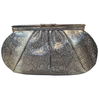 Judith Leiber Gold and Natural Gray Ring Lizard Clutch For Sale