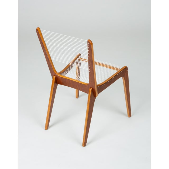 Wood Canadian Modernist Cord Chairs by Jacques Guillon - a Pair For Sale - Image 7 of 13