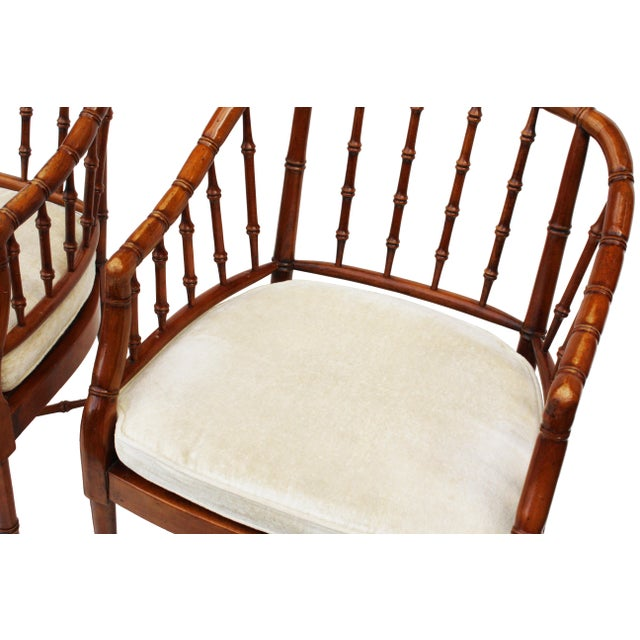 Hekman Faux Bamboo Chippendale Style Armchairs - a Pair - Image 2 of 10