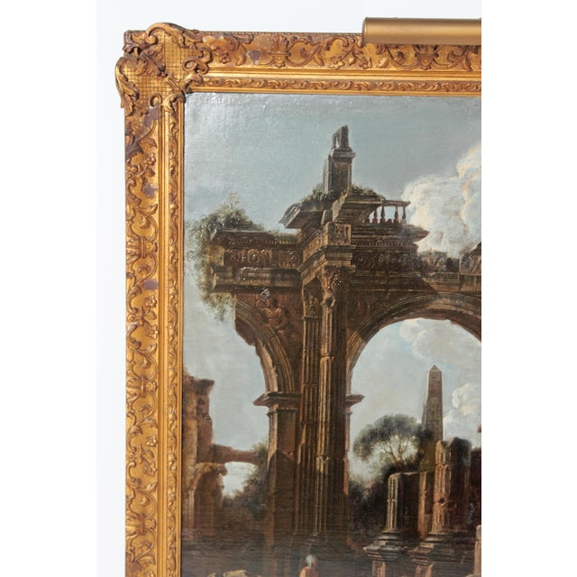 Baroque Painting / Classical Ruins Attributed to Giovanni Ghisolfi (1623-1683) For Sale - Image 4 of 13