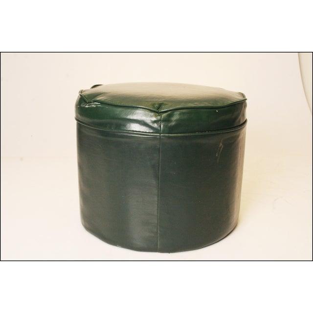 Mid Century Modern Dark Green Vinyl Ottoman - Image 4 of 11