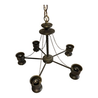 Vintage 6-Lamp Gothic Brass Chandelier For Sale