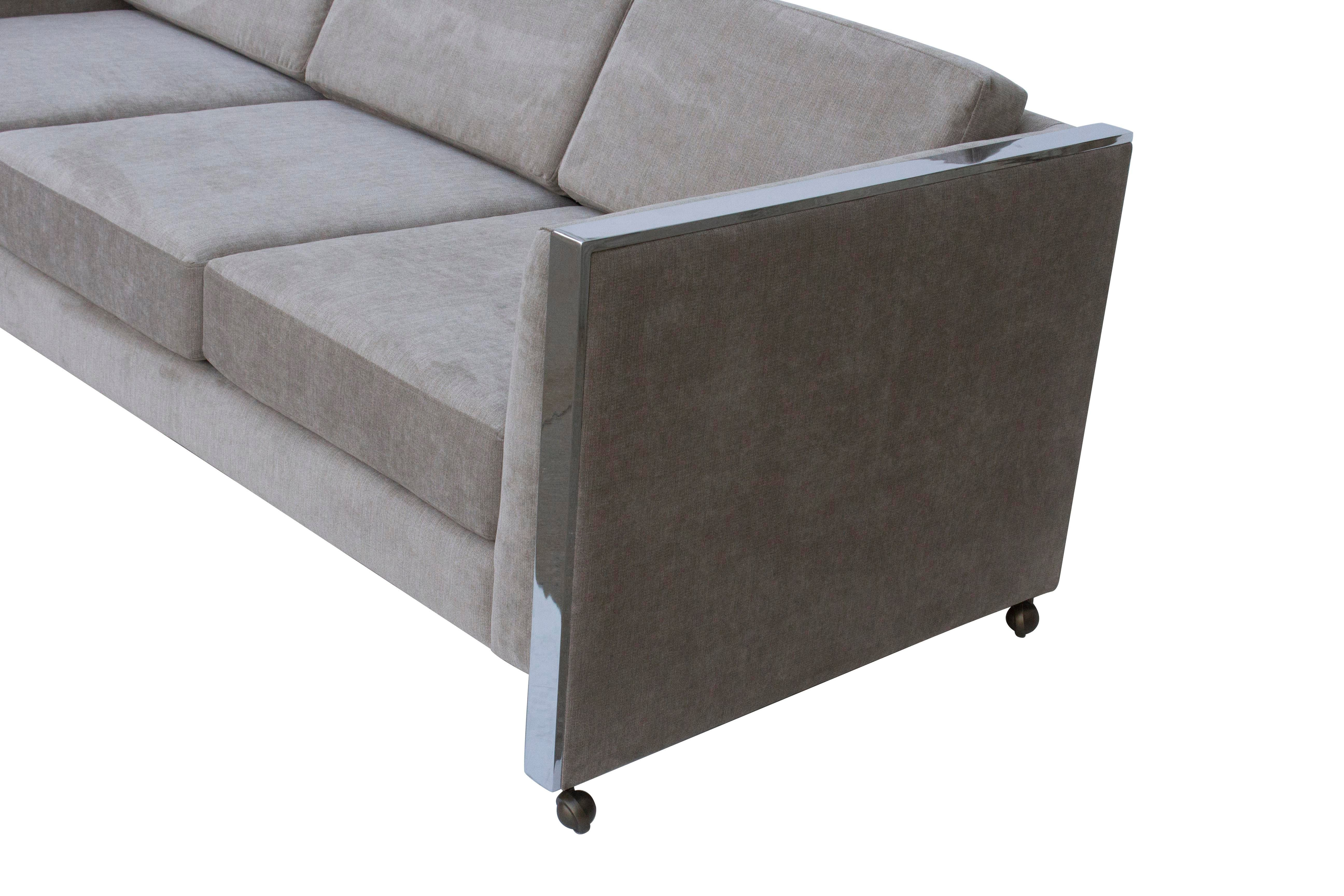 Selig Milo Baughman Style Even Arm Sofa By Selig Of Monroe For Sale   Image  4