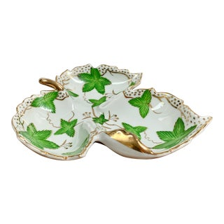 Vintage Hand Painted Porcelain Ivy Leaf Trinket Dish For Sale