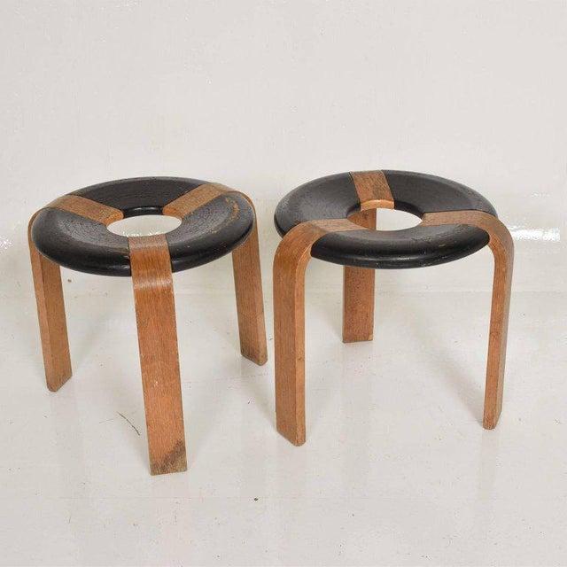 Mid-Century Modern Pair of Vintage Donut Stools by Rud Thygesen & J Sorensen For Sale - Image 11 of 11