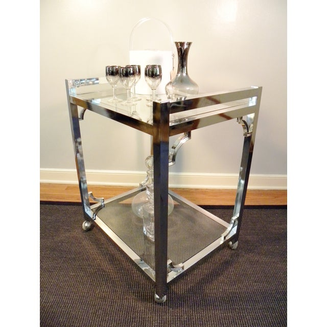 Mid-Century Chrome & Glass Bar Cart - Image 5 of 8
