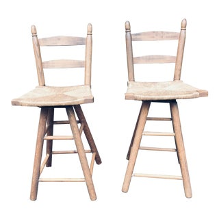 Mid Century Modern Rush Seat Swivel Counter Stools- a Pair For Sale