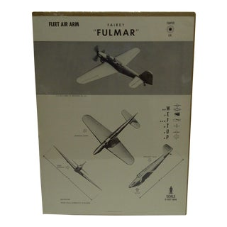 """Vintage WWII Aircraft """"Fairey Fulmar"""" Recognition Poster"""